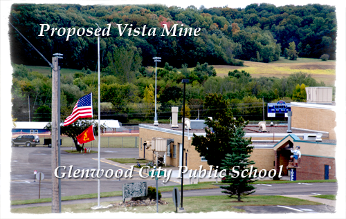 The Proposed Vista frac sand mine is less than a half mile from Glenwood City's school.