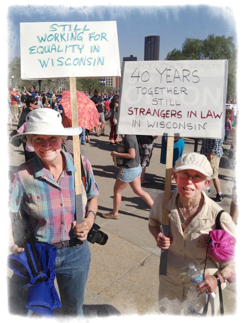 Brown and Goldin at a Minnesota rally for equal rights.